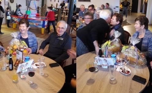 De winnars van januari met links op de foto Addy en Rinus en rechts Lenie met Addy