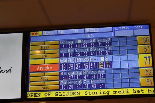 Een blik op het elektronisch scorebord van baan 2, de visueel gehandicapten met hekjes
