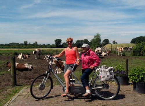 Marleen wilde graag, samen met haar moeder, op de foto voor de weide met koeien.