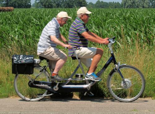 Piet fietst deze dag met Eric